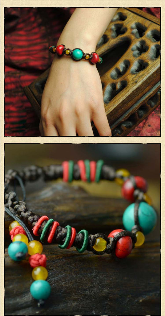 Ethnic Tibetan Bracelet & Bangle Pineapple Knots-Handmade