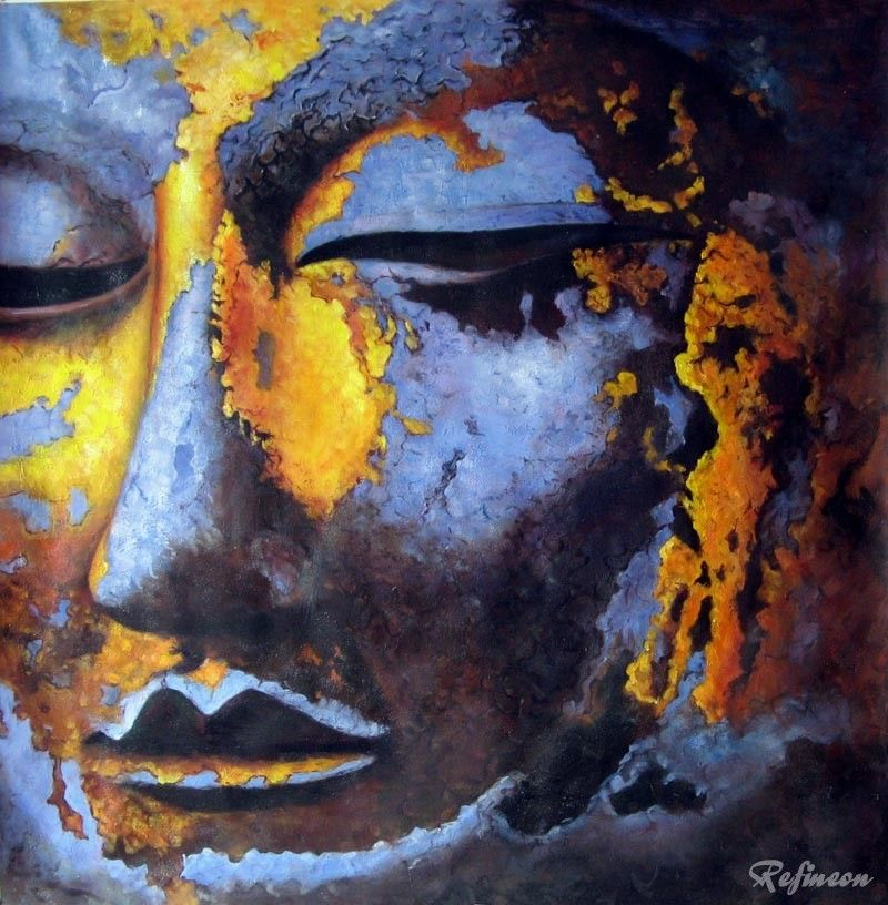 Handmade Buddha Oil Painting on Canvas