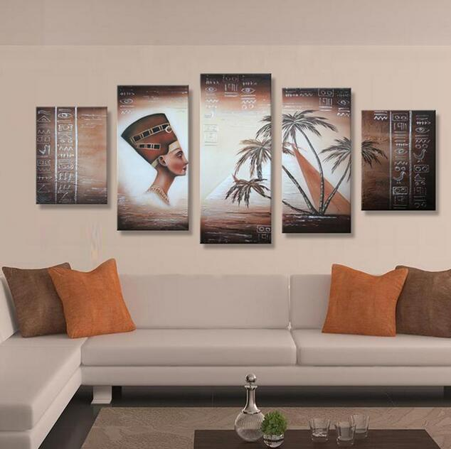 Handmade Nefertiti and Pyramids Oil Painting On Canvas - 5 Pcs