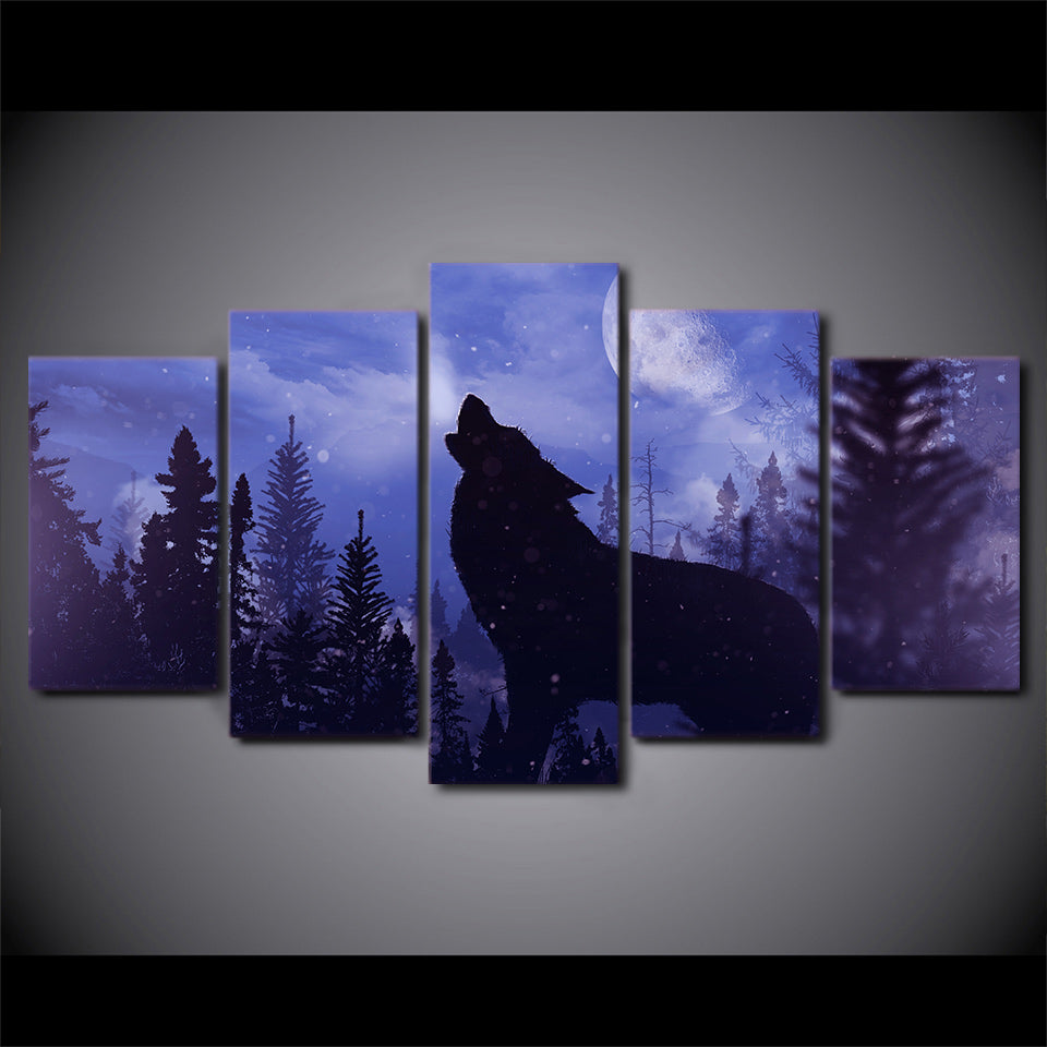 5 Pieces Canvas Blue Moon Night Black Wolf Canvas Painting/Wall Art-HD