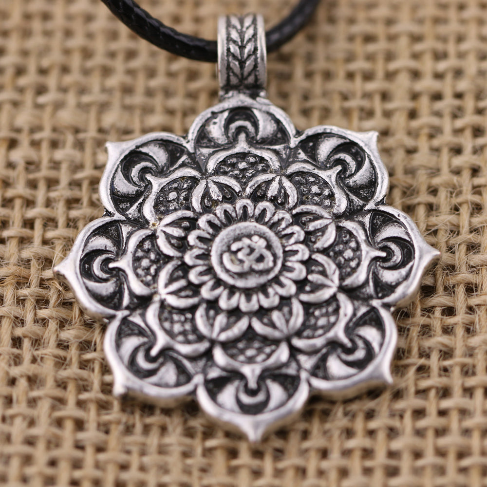 Antique Silver Om Lotus Mandala Pendant/Necklace
