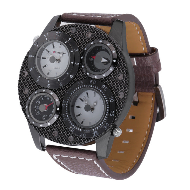 Large Multi Dial Men's Wrist Watch Time Thermometer Compass Display Watch