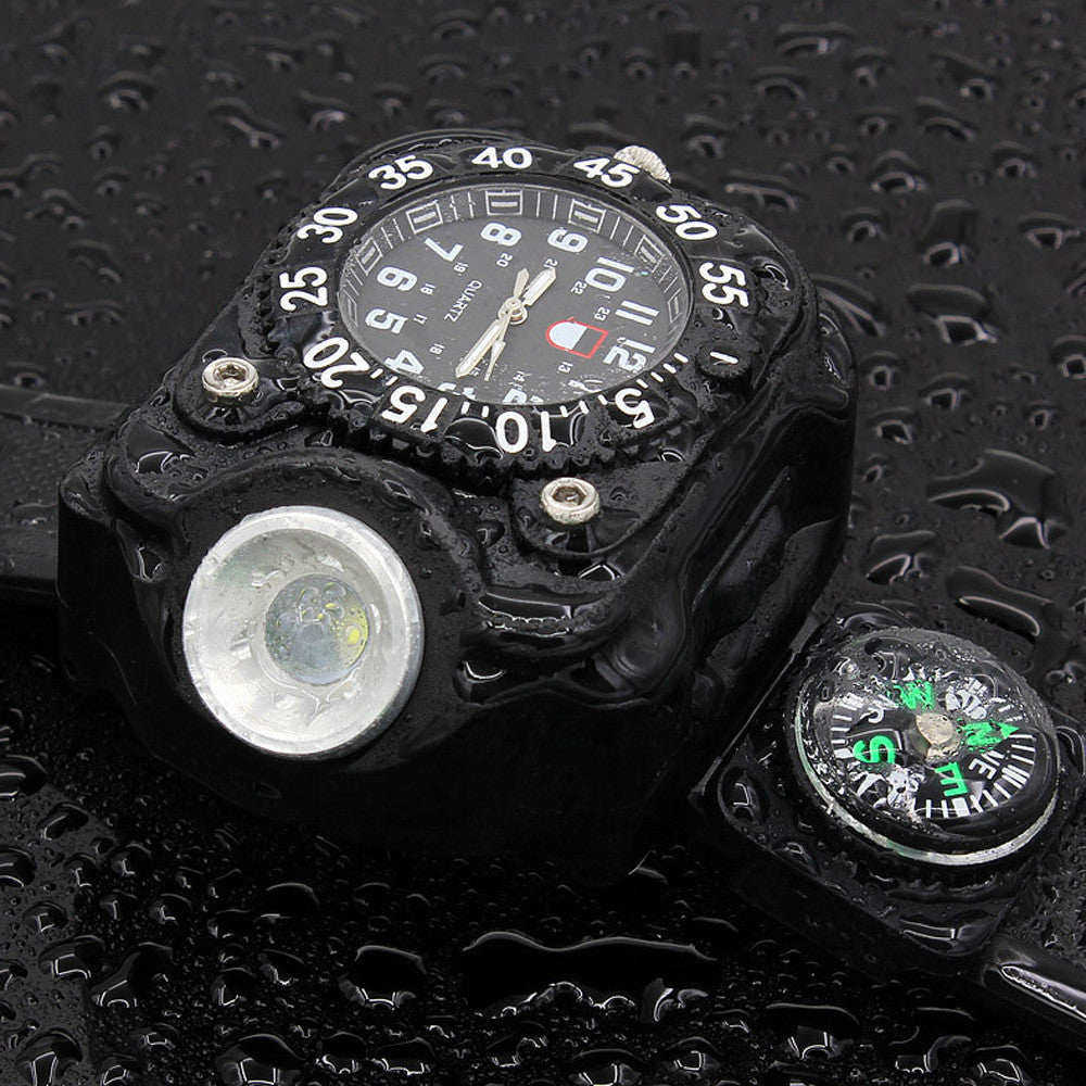 Mens Watches LED Waterproof Indicator/ Rechargeable Watch Flashlight Military Sport Watch