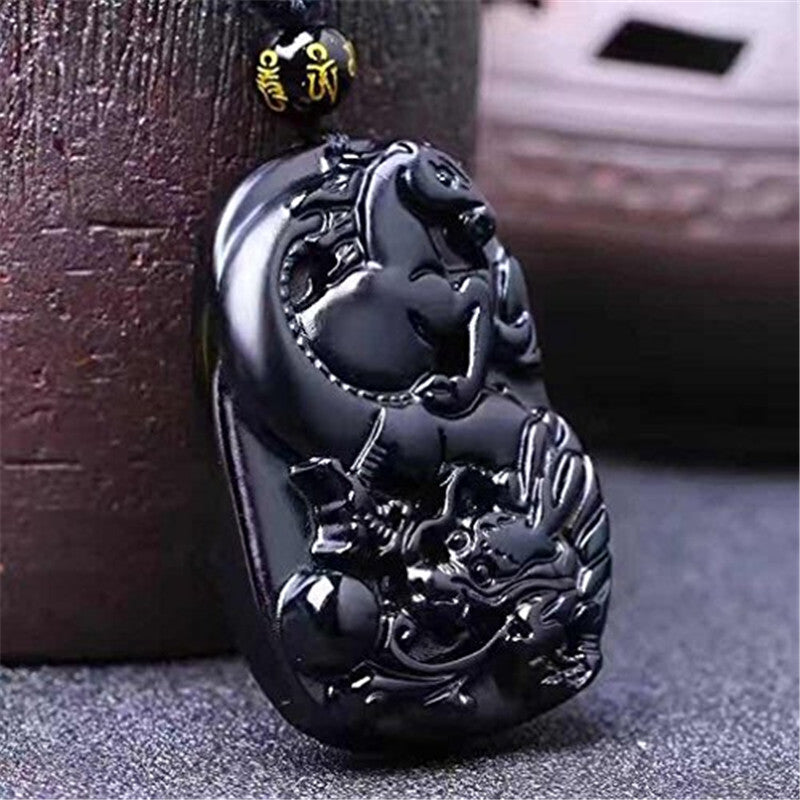 Natural Protective Obsidian Wealthy Dragon & Horse Pendant/Necklace-Hand Carved