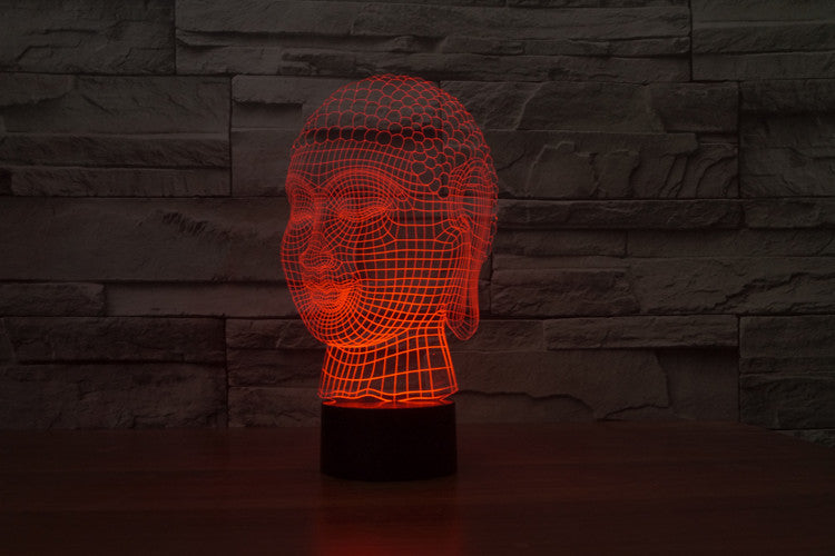 3D Buddha Head Hologram effect LED USB Lamp-Night Light