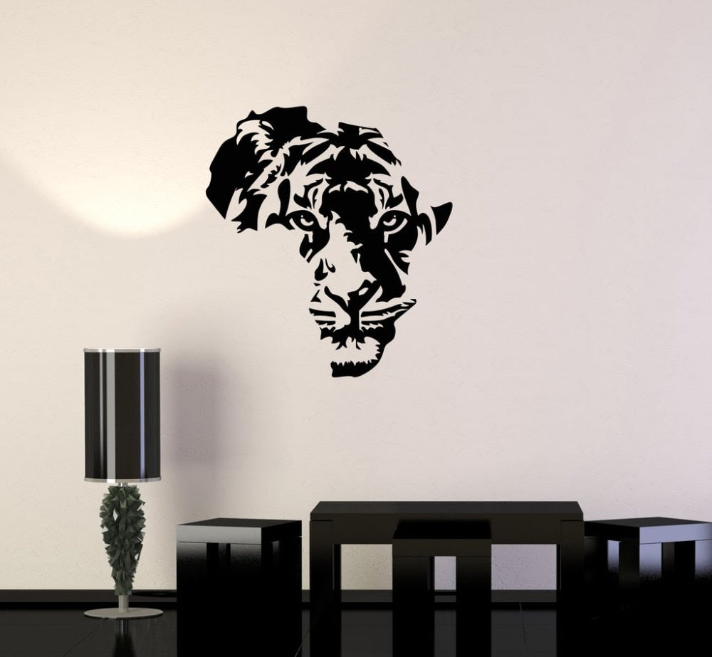 Decorative Africa Map Tiger Vinyl Wall Sticker