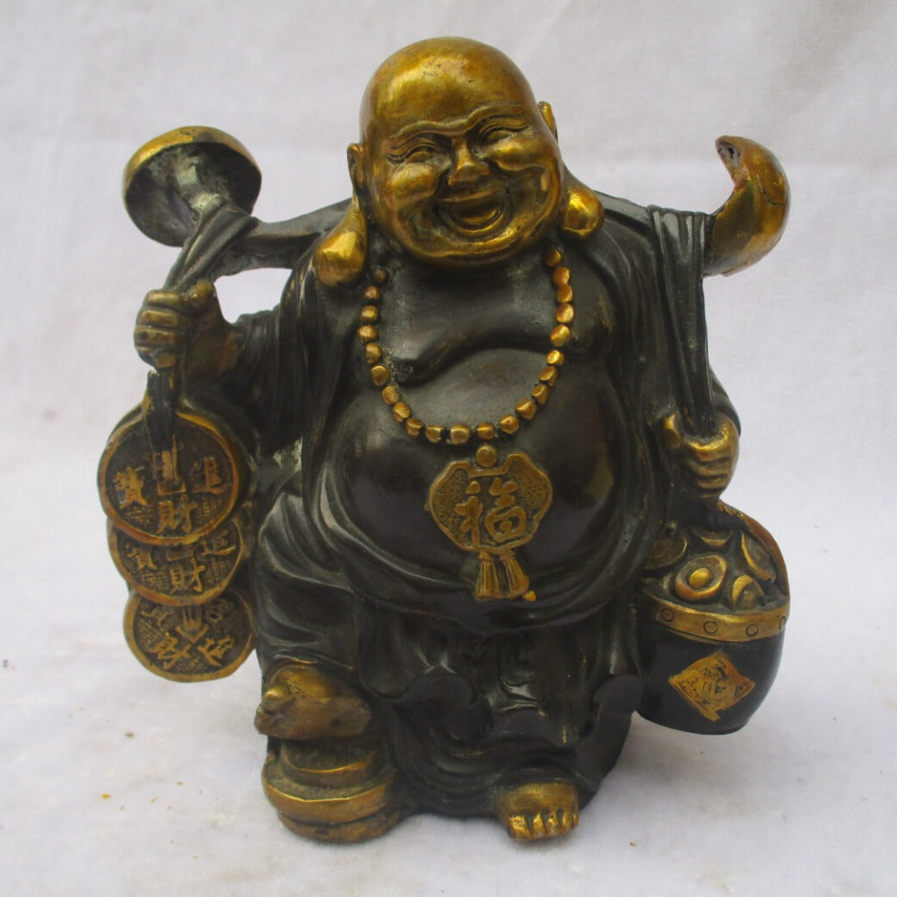 Wealth And Lucky Buddha Sculpture/Old Copper Carved Gold gilt /Antique Happy Buddha  Figurine