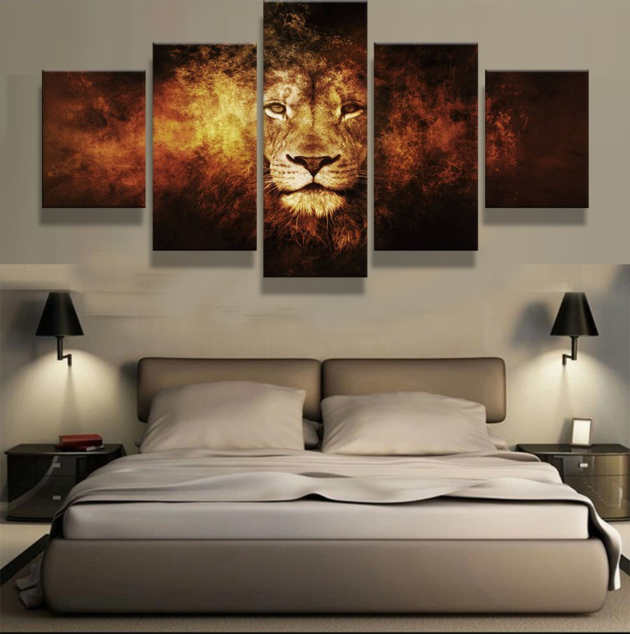 Amazing Calm Lion 5 Piece Canvas Wall Art