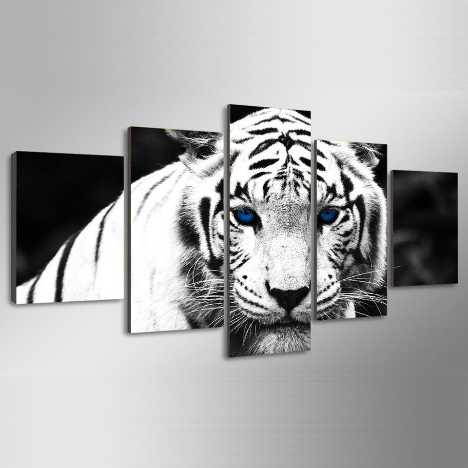 5 Piece Canvas White Tiger Wall Art