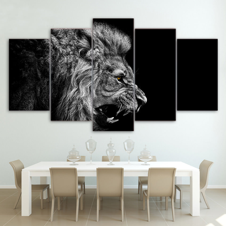 Superior Ferocious Lion Black U0026 White Canvas Wall Art HD
