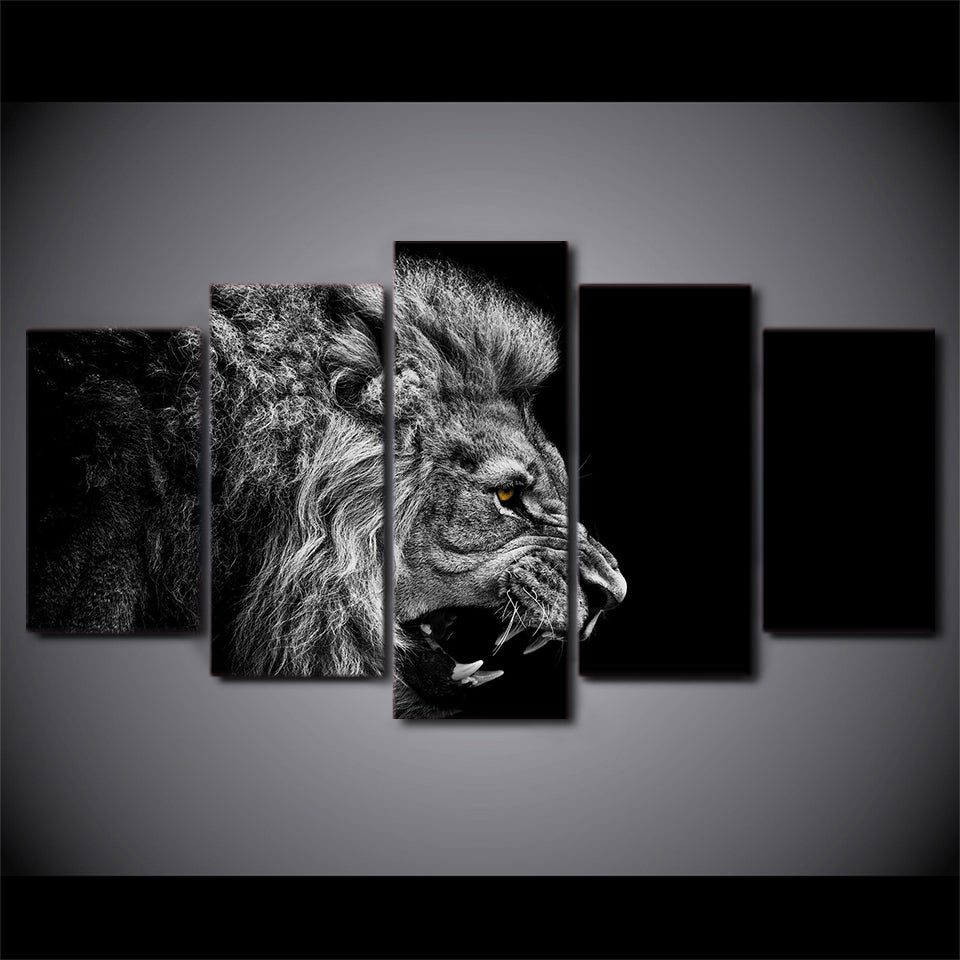 Ferocious Lion Black & White Canvas Wall Art-HD