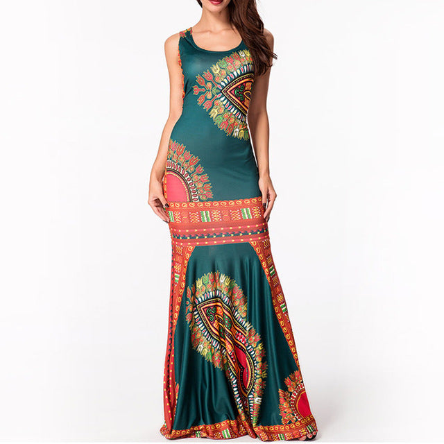 Ethnic Floral Print Maxi Boho Dress/Sleeveless Tank Dress/Mermaid Long Dress