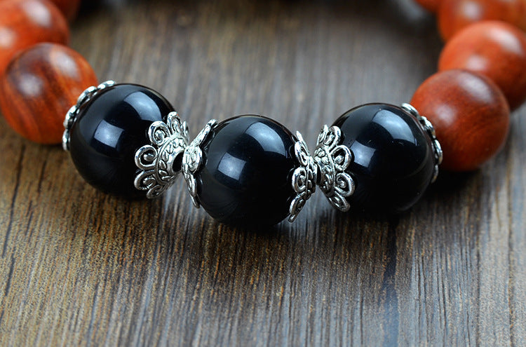 Buddha Head Blood Dragon Wood Black Crystal Tibetan Bracelets/Mala