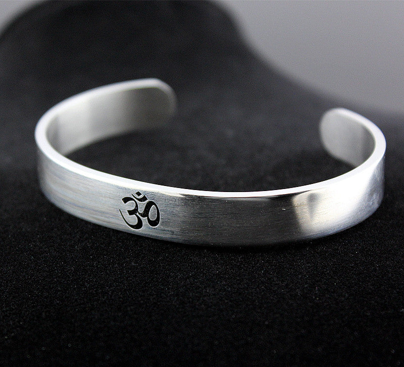 Stainless Steel OM Open Bangle/Cuff Bracelet