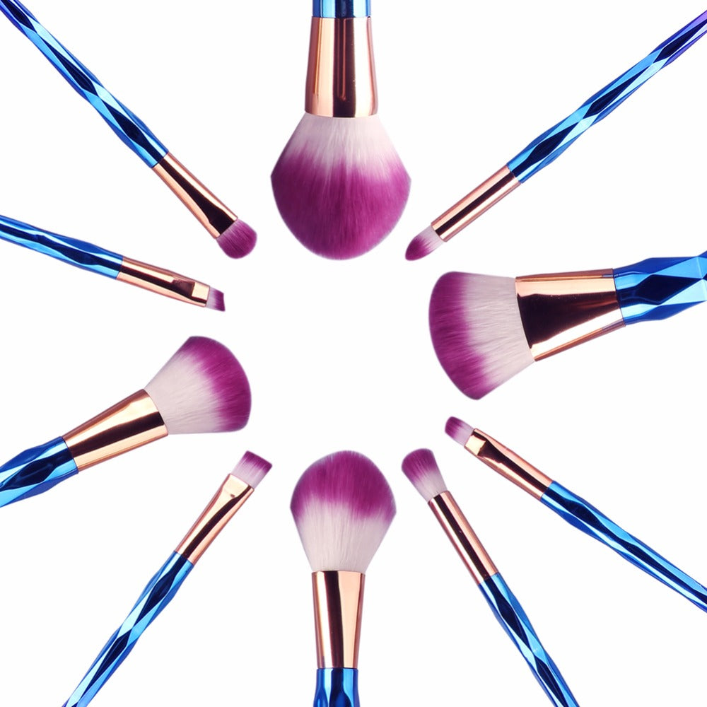 7/10 Pieces Unicorn Rainbow Diamond Makeup Brushes Set Synthetic Hair Beauty Kit