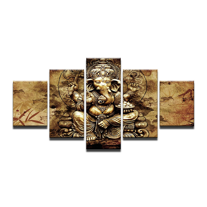HD Canvas 5 Pieces Ganesh Painting/Wall Art