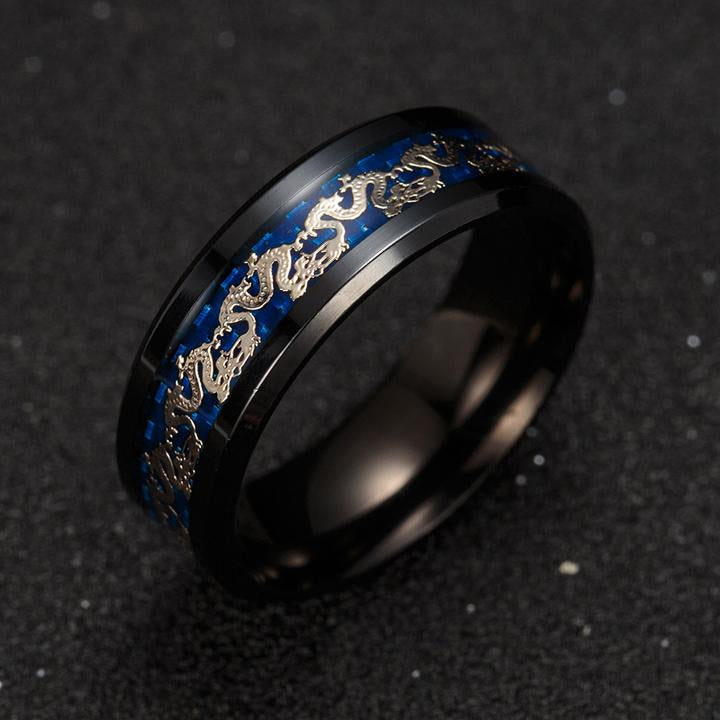 Ancient Dragon Blue/Black Ring