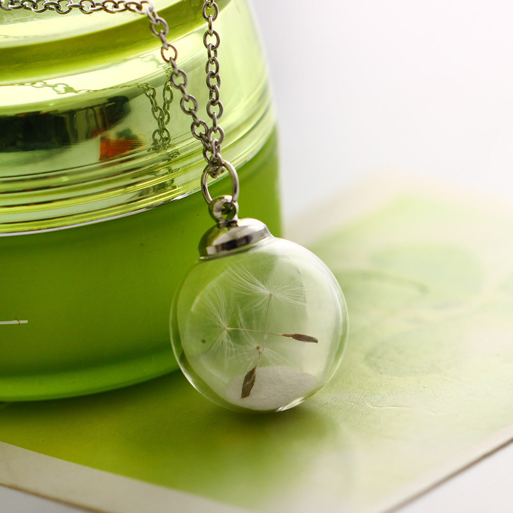 Dandelion Seed Glowing In The Dark Necklaces/Wish Glass Pendants Necklaces