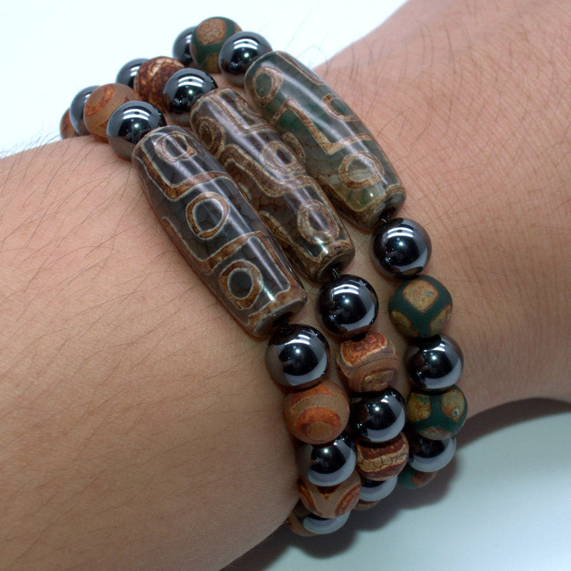 Natural Stone Bracelet Tibetan Dzi 9 Eyes Beads  8MM Charm Bracelet