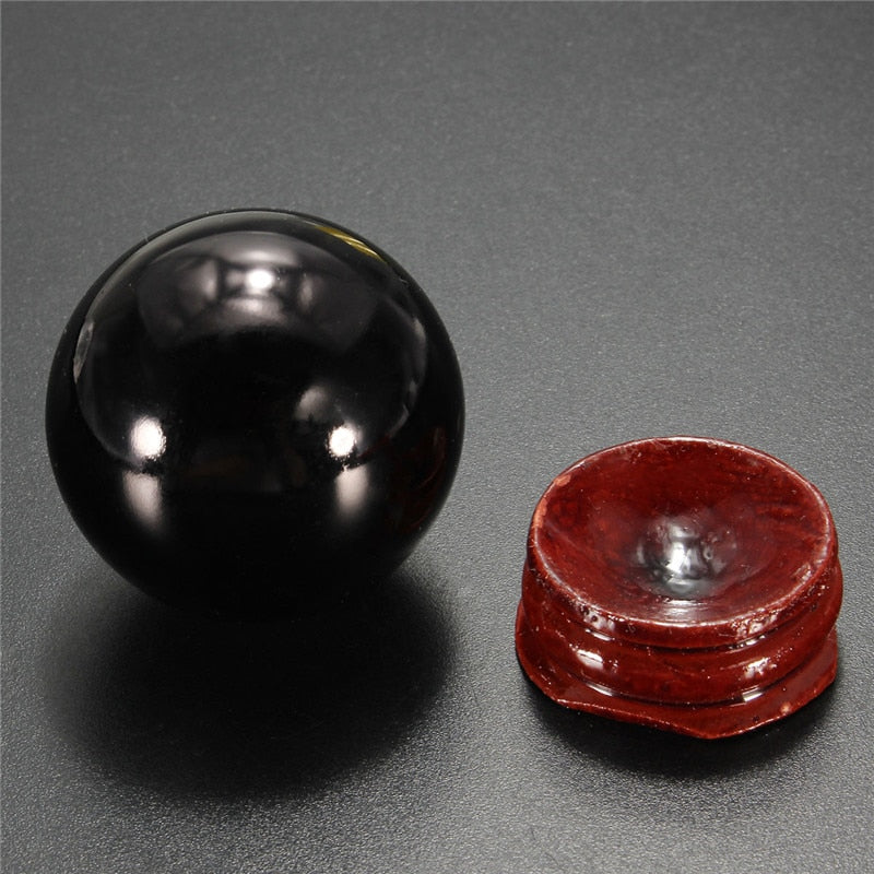 Natural Black Obsidian Crystal Ball Sphere With Stand
