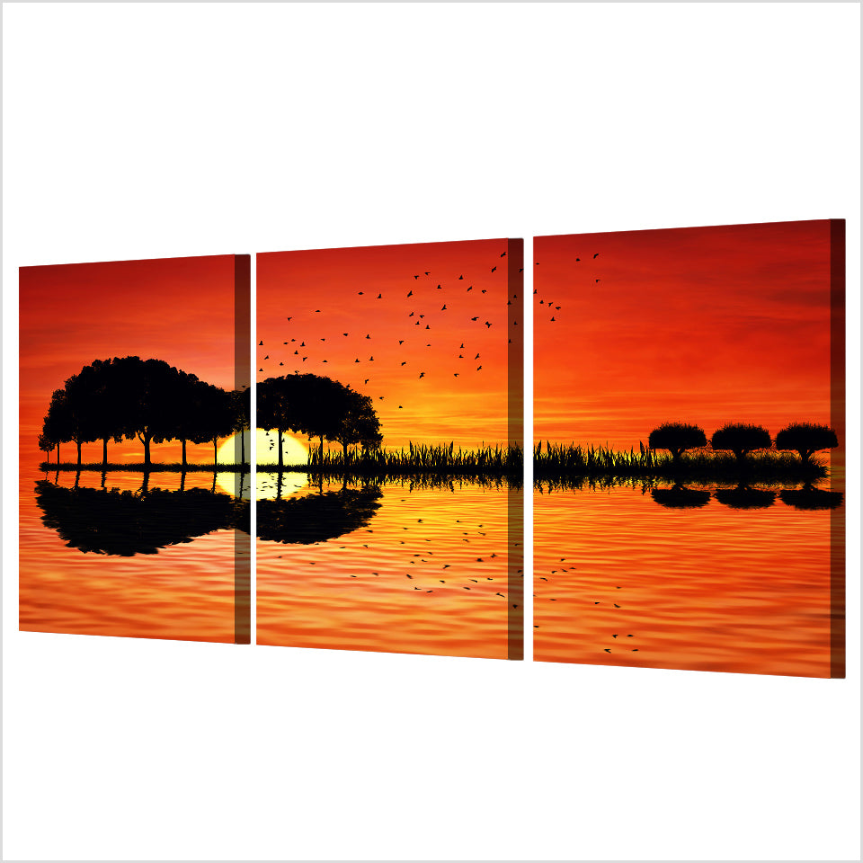 3 Piece Dramatic Guitar Sunset Canvas Wall Art