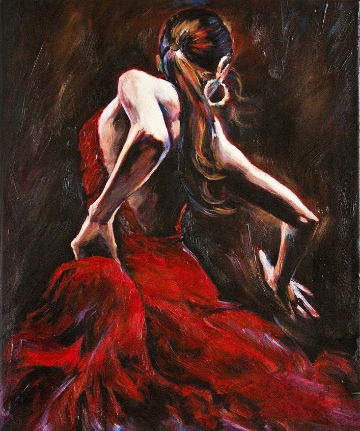 100% Handmade Abstract Portrait Oil Painting on Canvas-Spanish Flamenco Dancer in Red Dress
