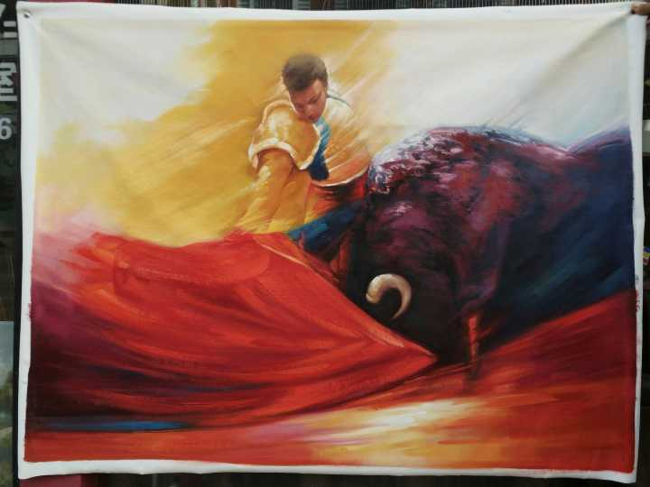 Hand Painted Spanish Matador in Arena Oil Painting/Real Art Painting
