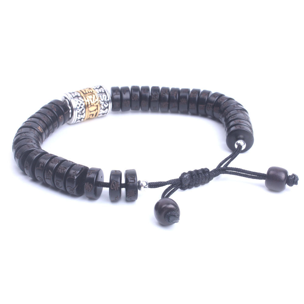 Natural Coconut Shell Beads Om Mantra Handmade Tibetan Buddhist Bracelet