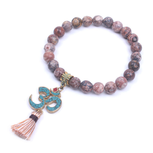 Natural Stone Tibetan OM Charm and Mini Tassel Yoga Stretch Bracelet