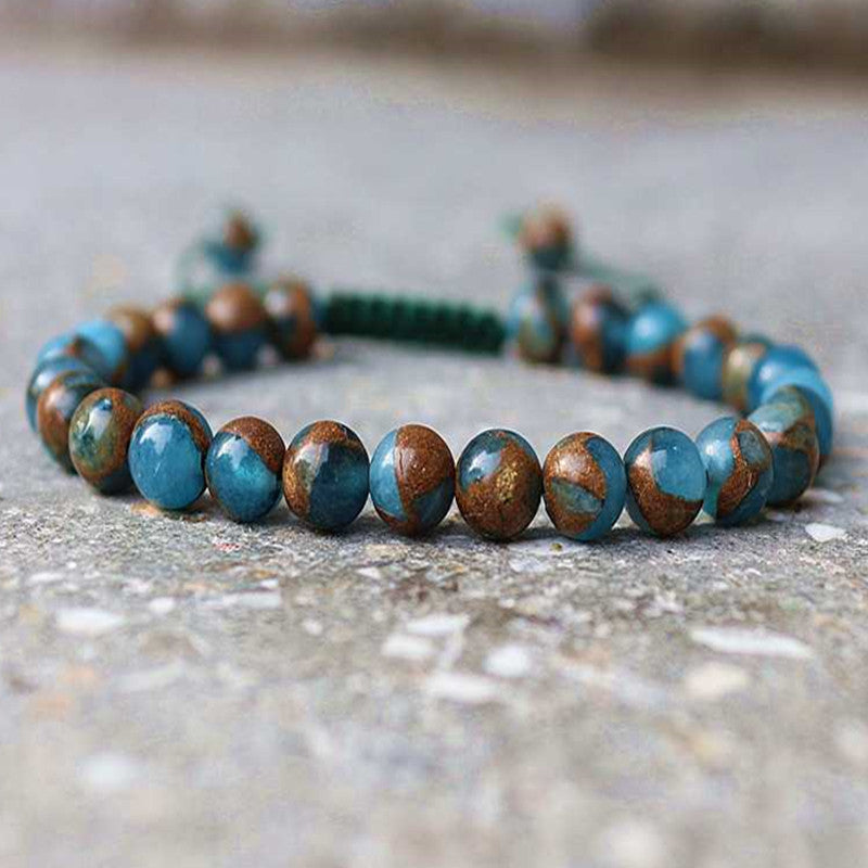 High Quality Blue Multi-Colour Natural Cloisonne Round Stone Beads Friendship Bracelet