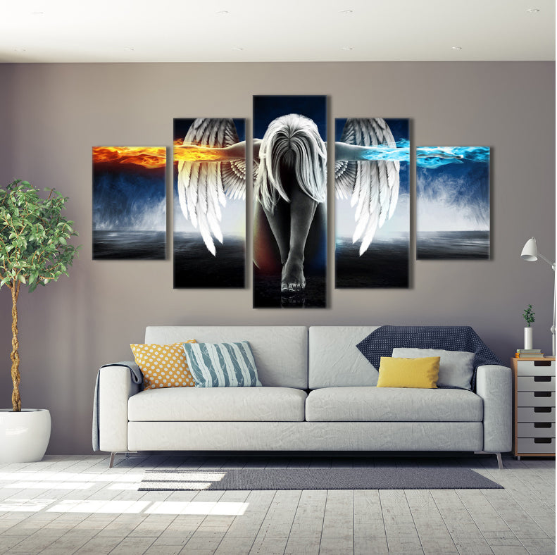 5 Panel Angel Fire & Ice Canvas Wall Art