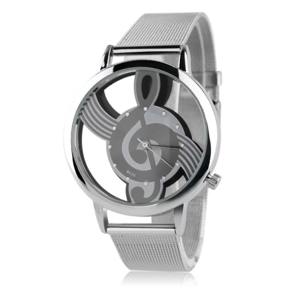 Treble Clef Wrist Watch - Music Note Pattern Quartz Wristwatch