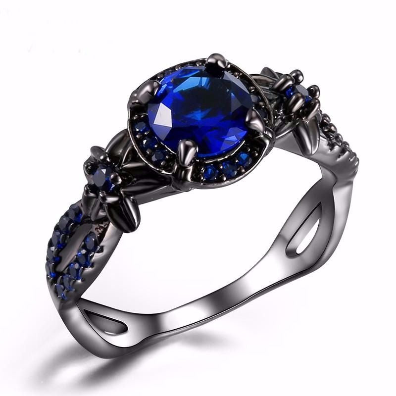Vintage Blue Elegant Black Gold Colour Fashion Ring