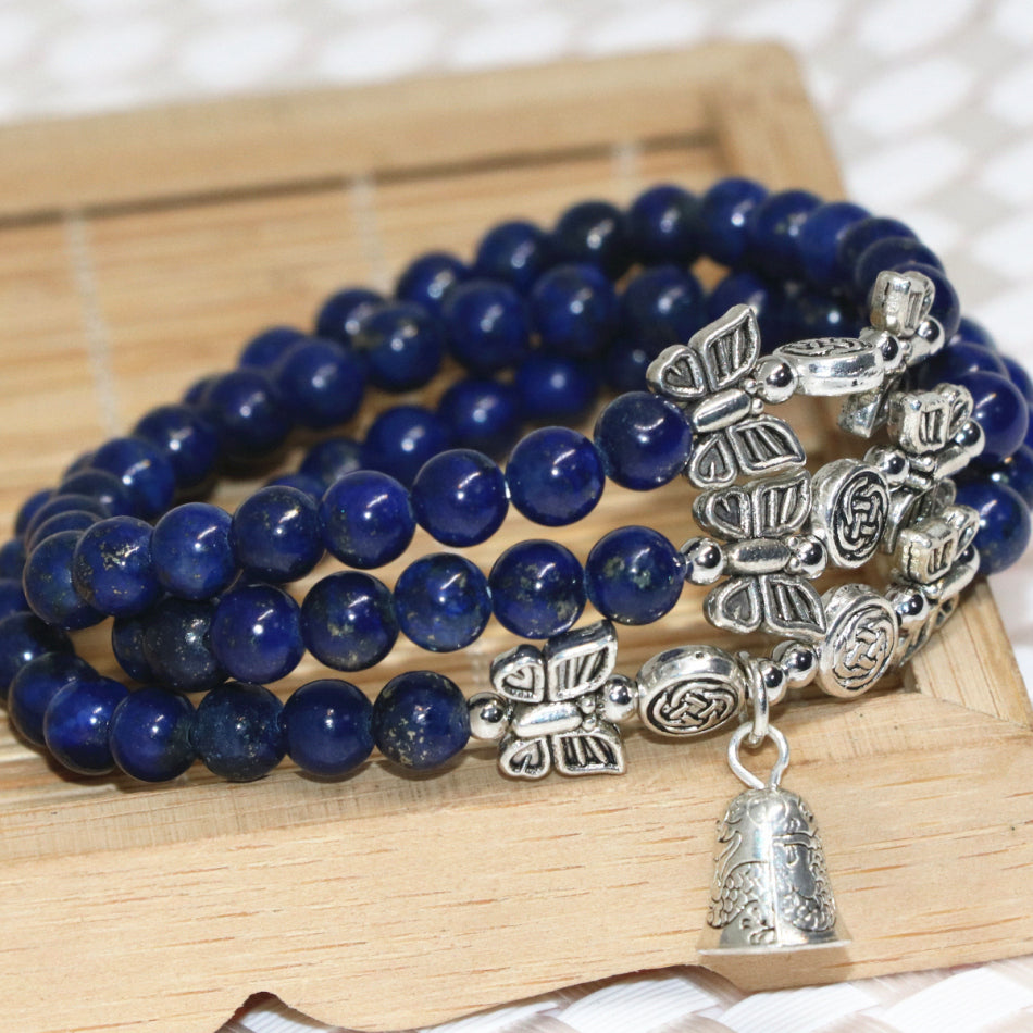 High Quality Elegant Lapis Lazuli Multilayer Beaded Bracelets With Bell pendant