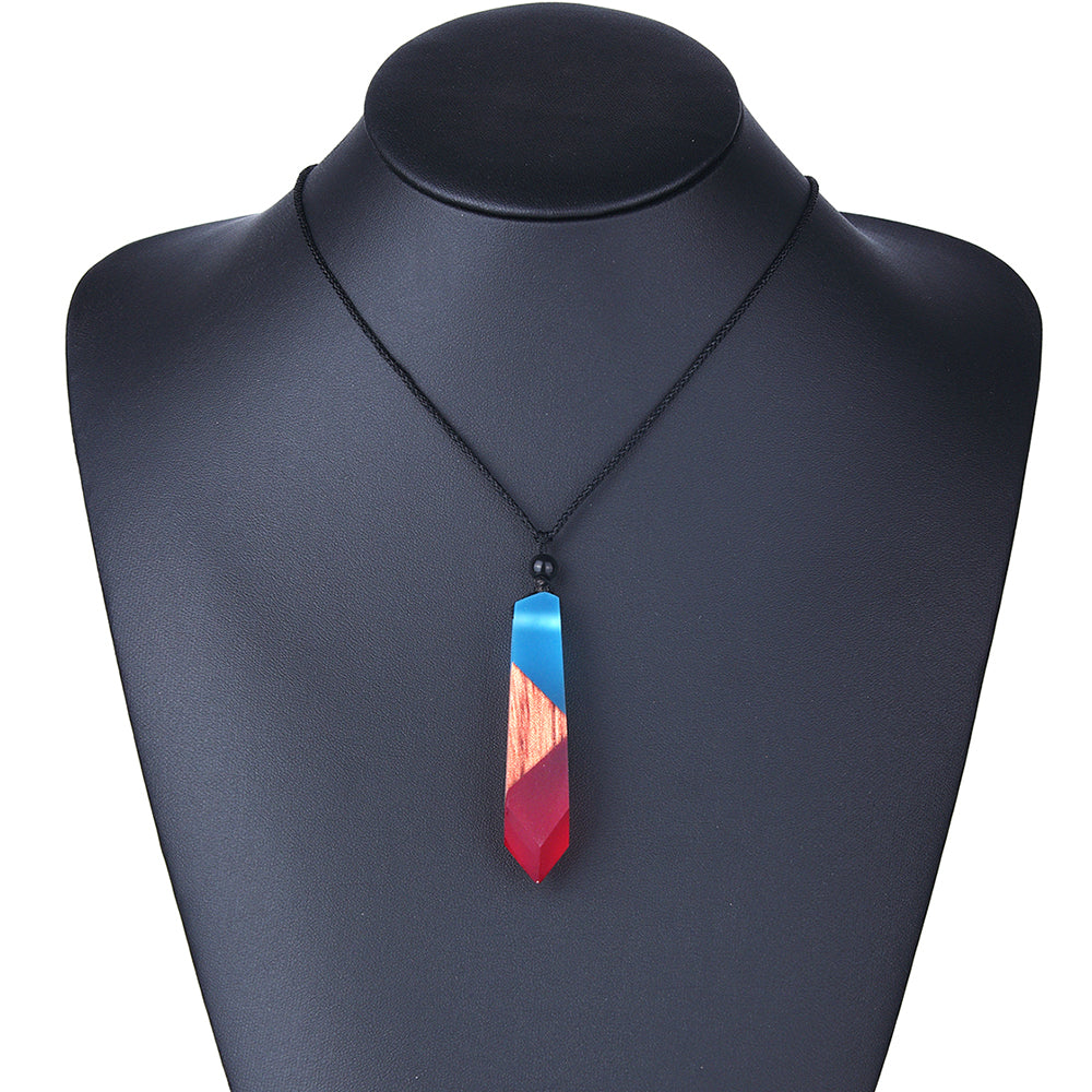 Handmade Resin Wood Geometric Shape Pendant Necklace