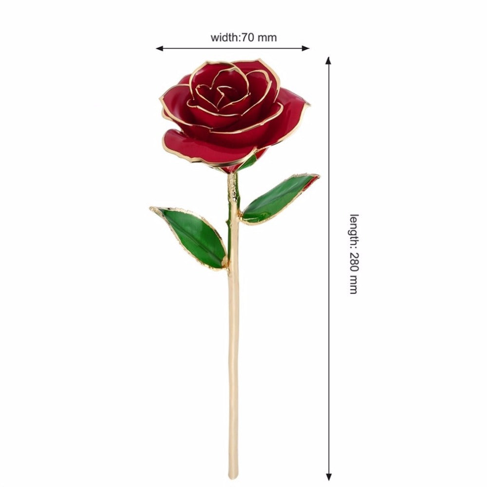 24k Gold Foil Trimmed Rose with Clear Display Stand