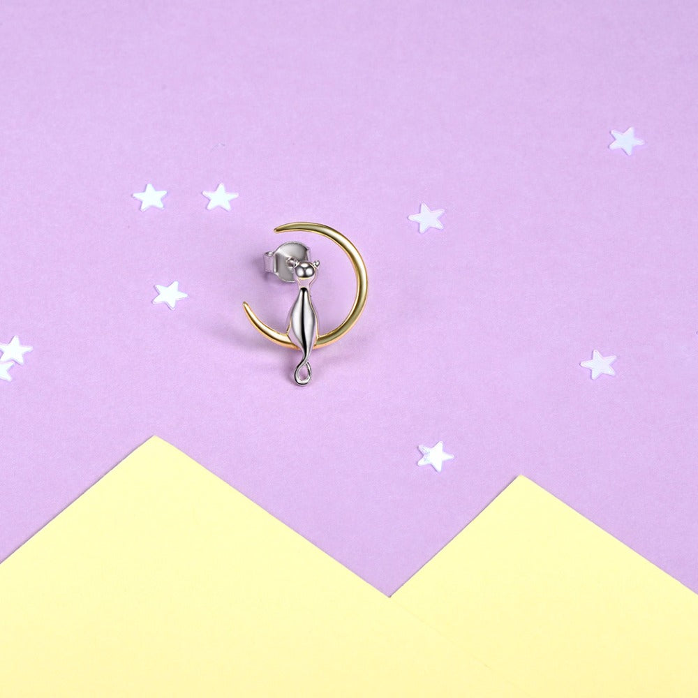 925 Sterling Silver Cat On The Moon Earrings