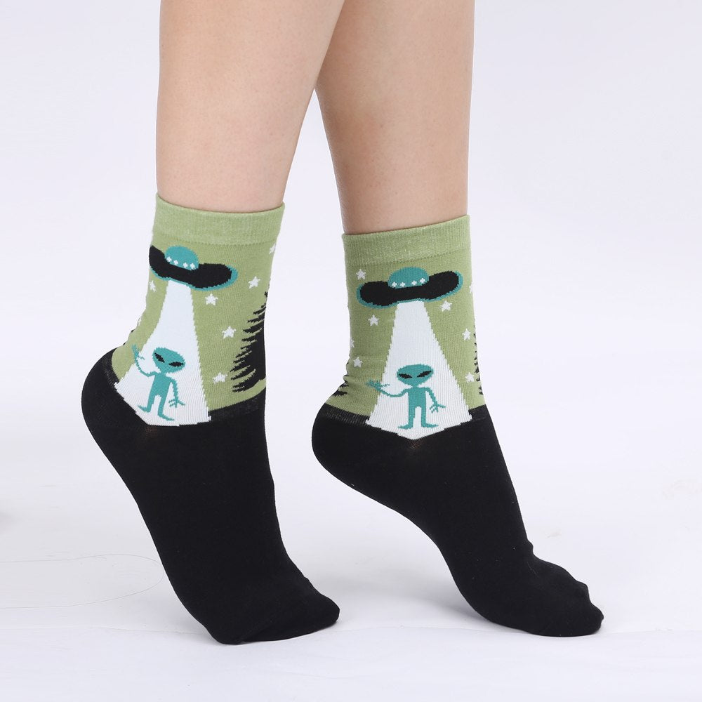 Funky Alien UFO Women's Crew Socks