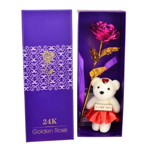 24K Gold Foil Rose With Teddy Bear