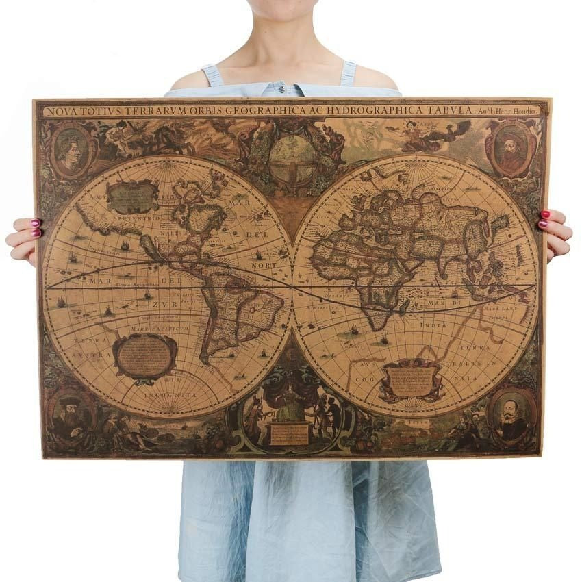 Retro World Map Vintage Nautical Ocean Map Look4ward Store