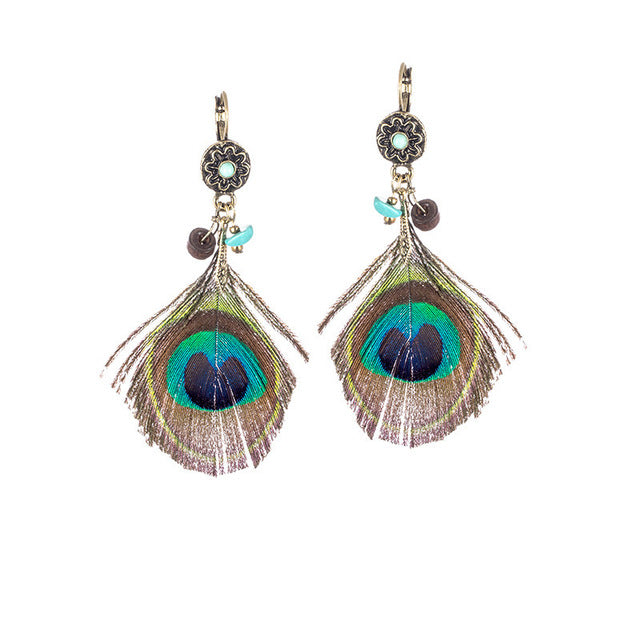 Ethnic Boho Peacock Feather Earrings