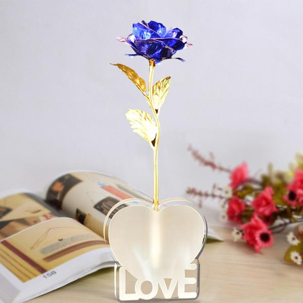 24K Gold Foil Rose with Heart-Love Base