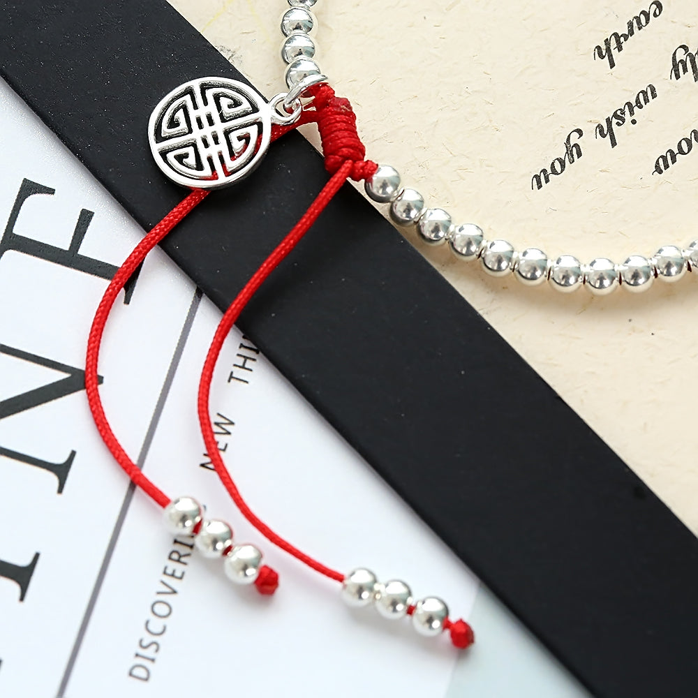 S925 Sterling Silver Lucky Red Rope Prosperity Bracelet