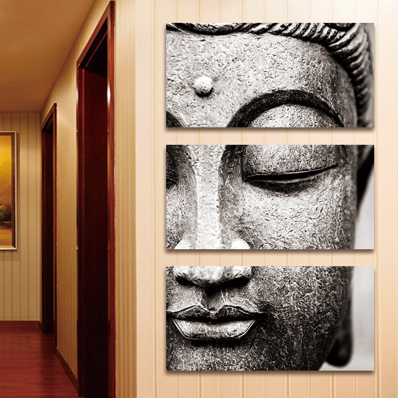 3 Panel Gray Print Buddha Canvas Wall Art