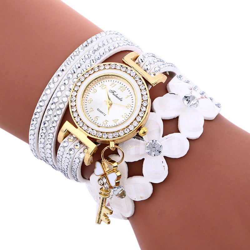 Flower Motif White Leather Ladies Watch