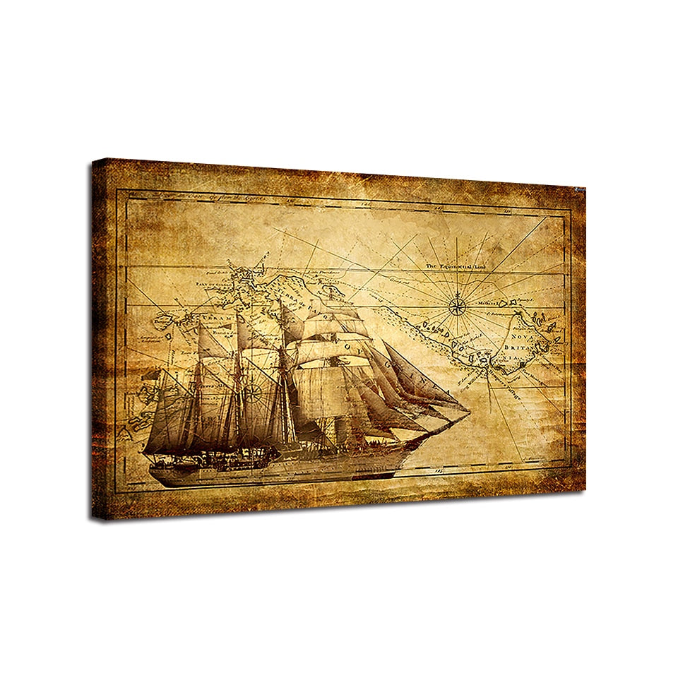 HD Printed Vintage Nautical Sailing Ship Map Canvas Wall Art