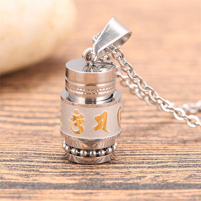 Tibetan Six Words Mantra Prayer Wheel/Spinner Pendant Necklace