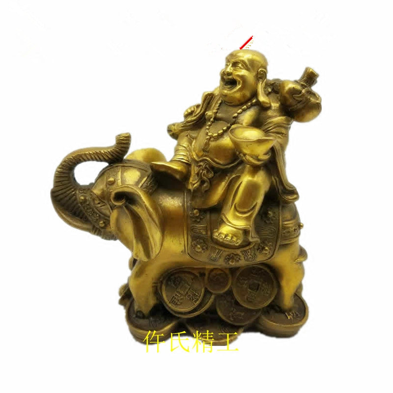 Copper Brass Happy Buddha Figurine Wealth Good Luck Elephant on Coins