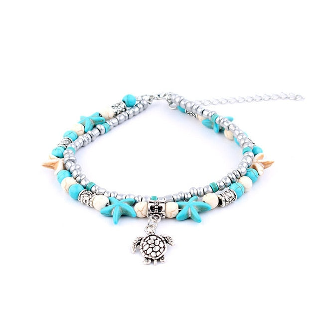 Multilayer Mixed Beads Charm Handmade Ankle Chain