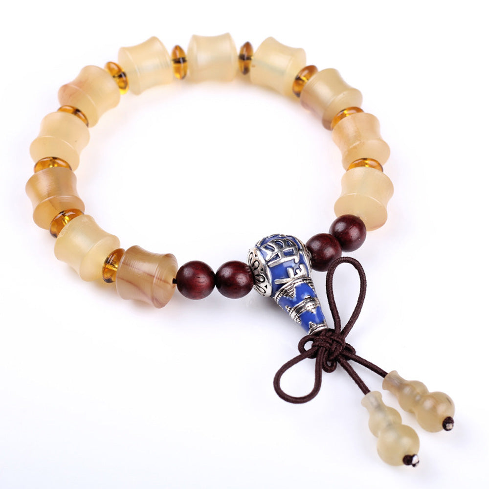 Natural Horn Inlaid Wrist Mala Beads